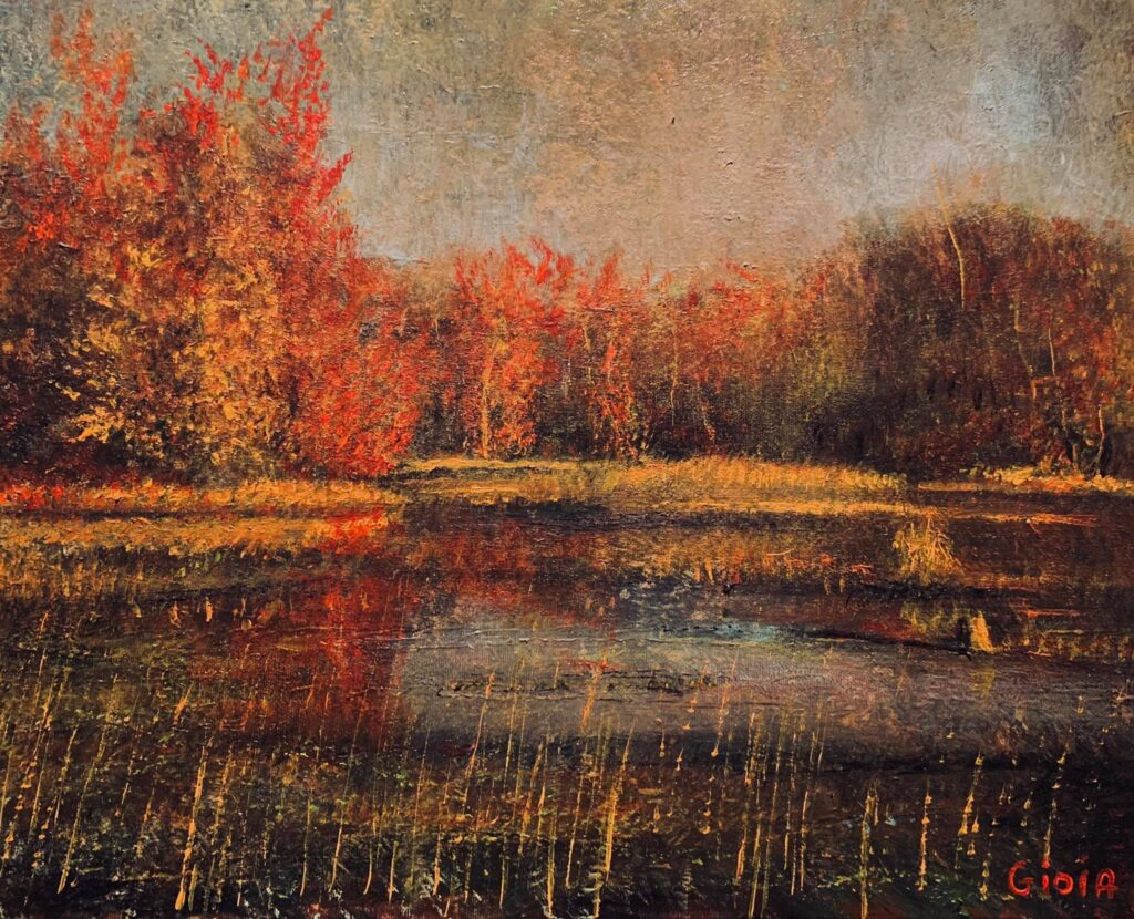 painting of lake surrounded by red trees