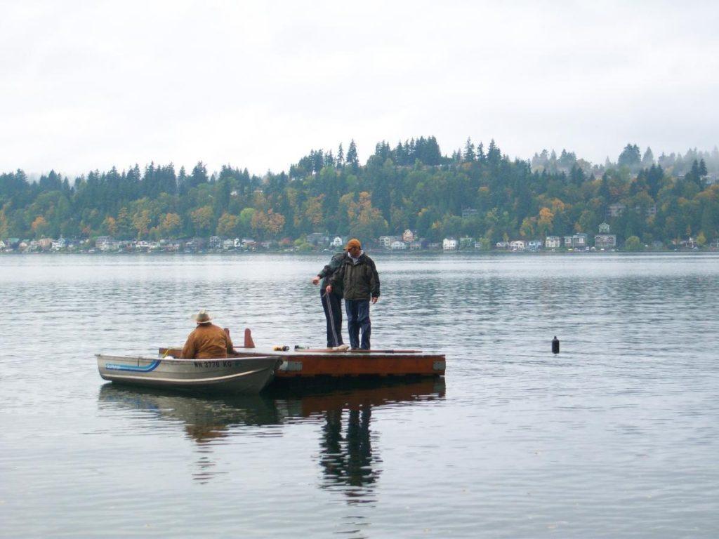 people on floating dock