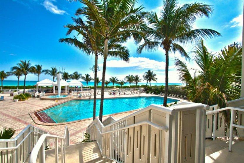 Oceanfront resort pool area