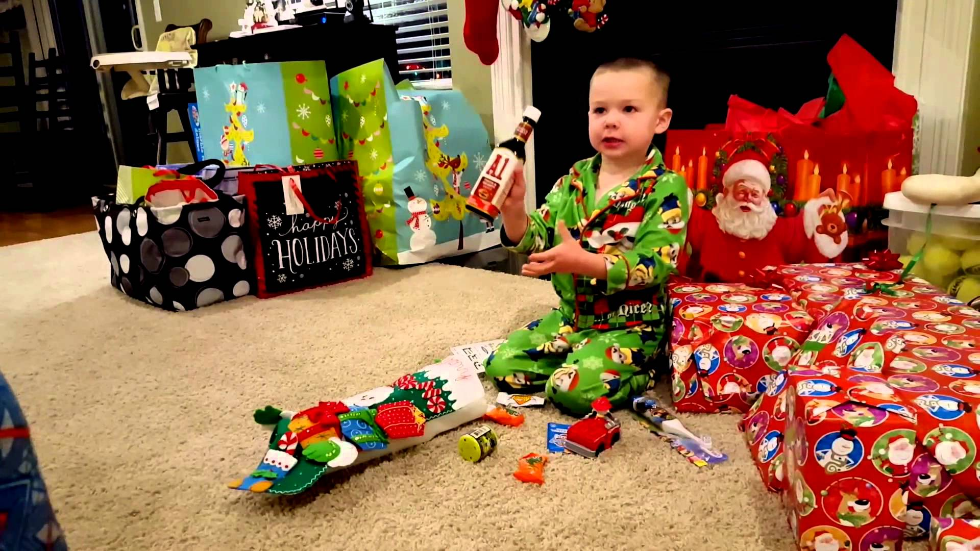 This Kid Can't Believe He Got His Very Own Steak Sauce for Christmas
