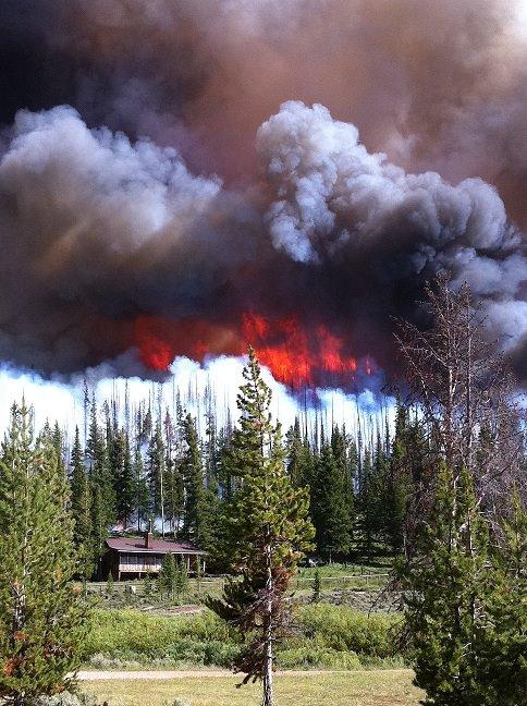 Wildfire Threatening Home