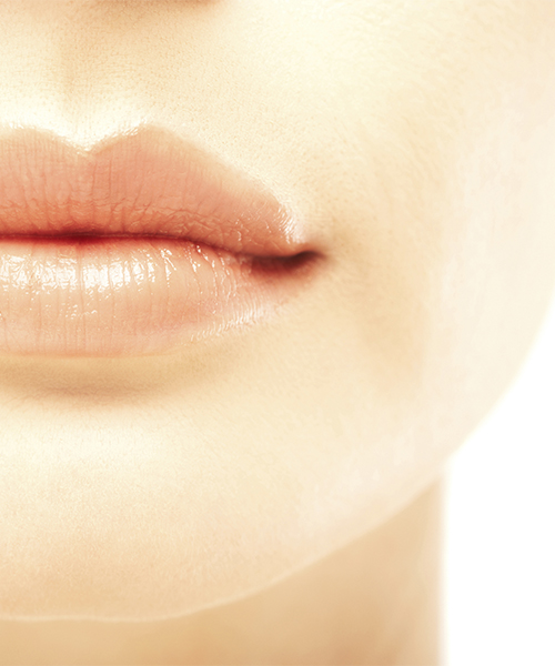 Closeup of lips of beautiful woman