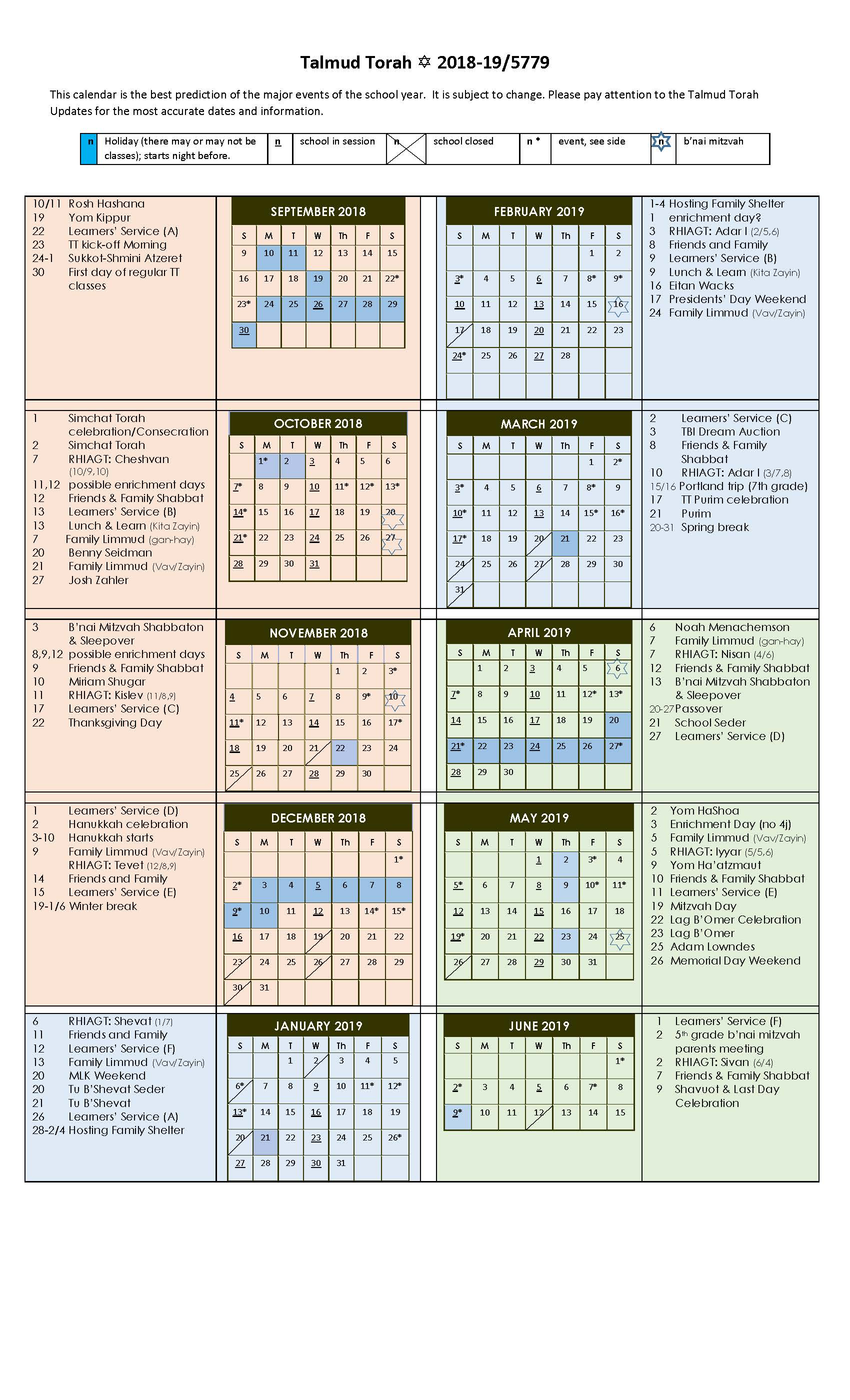 Torah Calendar.Talmud Torah Temple Beth Israel
