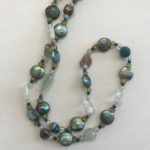 """#14872 Pearls, crystals, amber on SS clasp (27"""")"""
