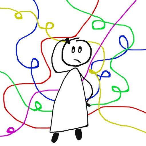Illustration d'un bonhomme se grattant la tête, entouré de tourbillons multicolores pour représenter son incertitude.