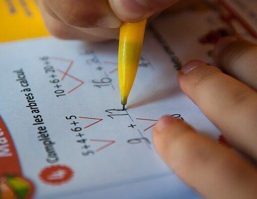 Photographie rapprochée d'une main tenant un crayon pousse-mine. La personne complète un arbre à calcul dans un cahier d'activités de mathématiques.
