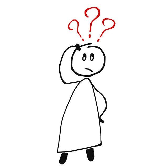 Illustration d'un bonhomme se grattant la tête. Trois points d'interrogation sont au-dessus de sa tête.