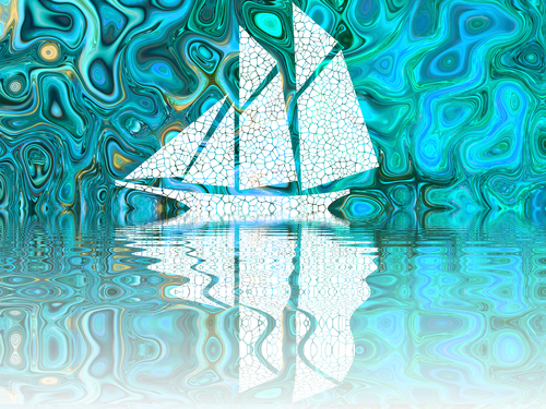 Ship on trippy seas