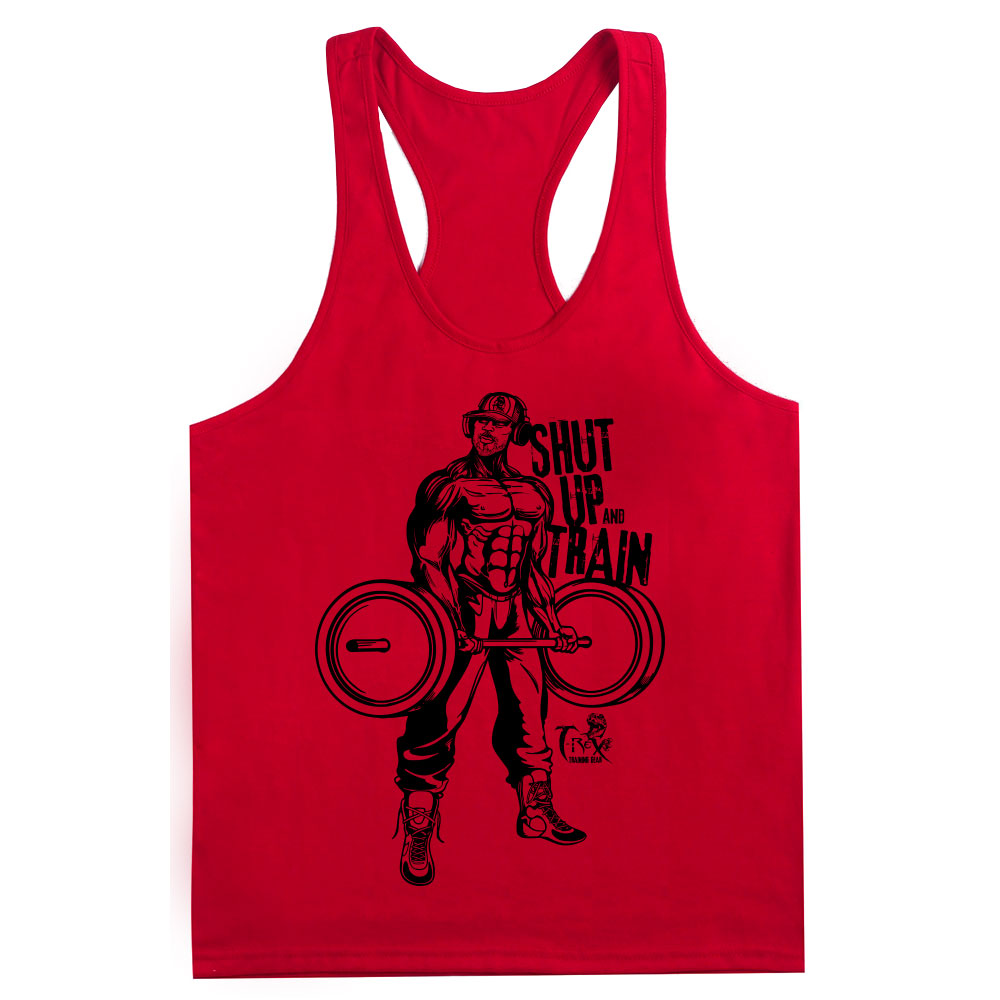 """Shop -He-Rex """"Shut up and Train"""" Racer Back Tank - Red"""