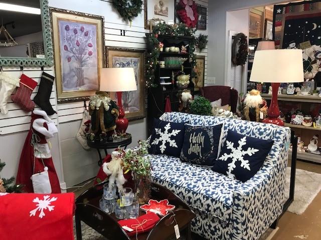 blue white settee christmas