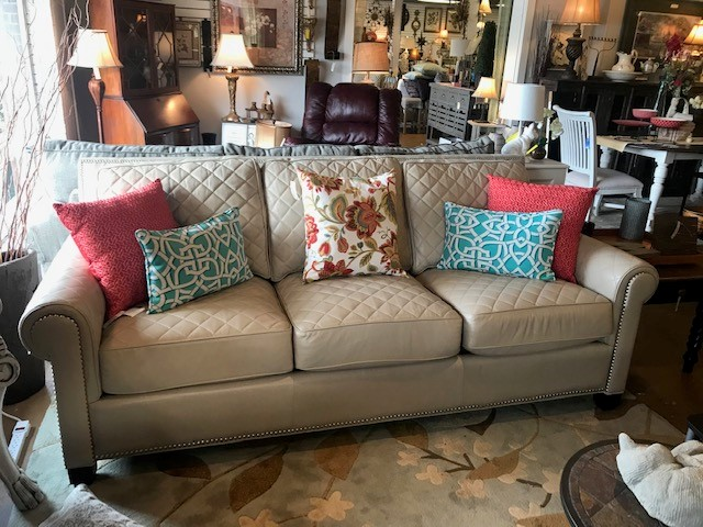 leather stitched sofa