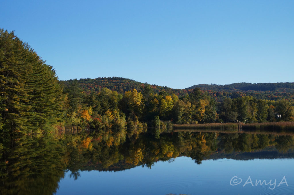 """Vermont in October. This is what I call an """"accident"""" shot. I was sitting in the passenger seat as we were driving past and I was like (in my head), """"I must have this picture! Look at the colours! Look at the reflection on the water!"""" So I pointed and shot without bothering to adjust my camera settings (we were going too fast and I would've missed it had I paused for even just another second), and here you have the result. Not bad considering we were going at least 80km/h. If you look closely to the tree on the left, it's slightly blurry."""