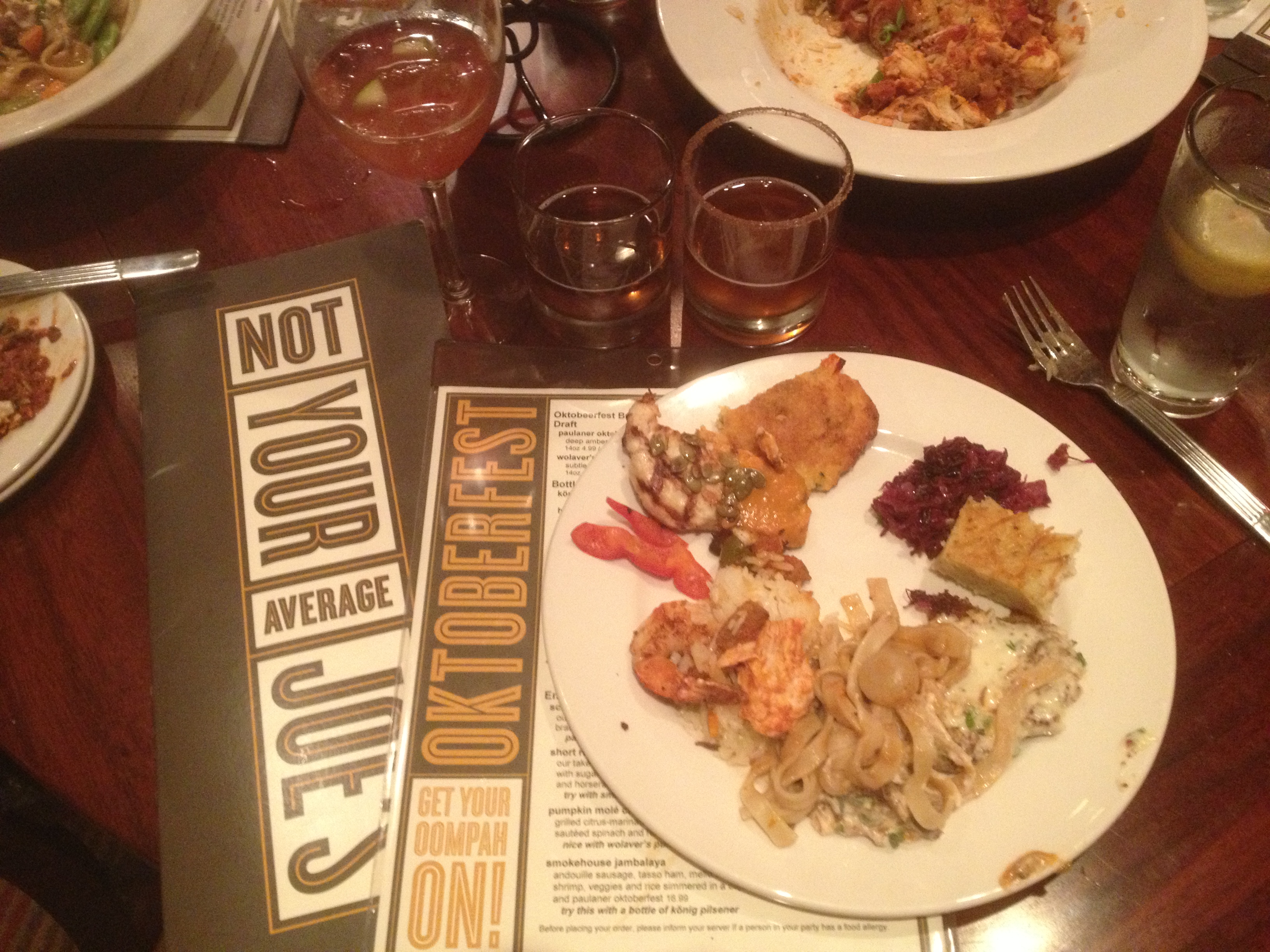 Dinner at Not Your Average Joe's