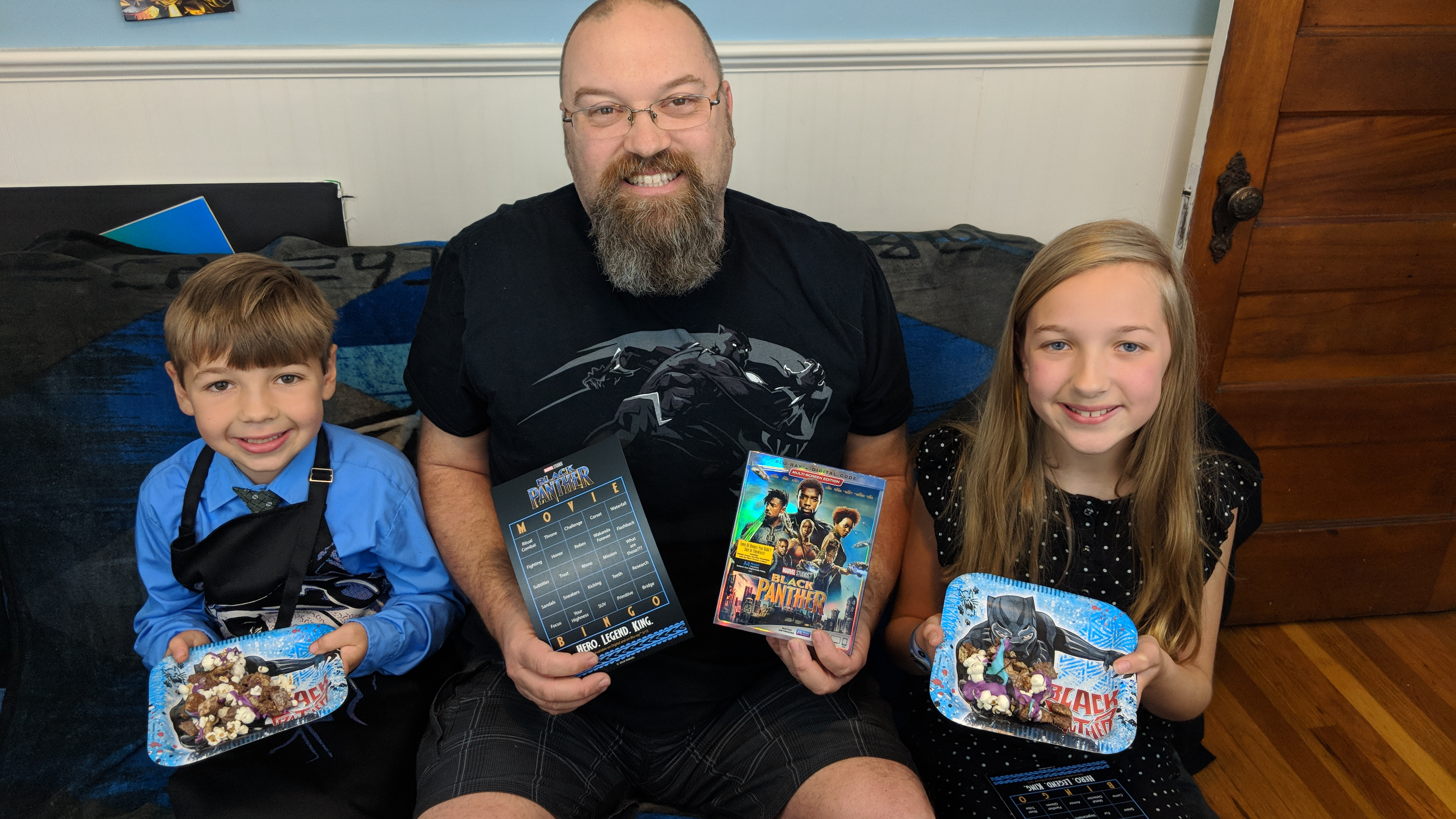 With the kids celebrating the Black Panther Blu-ray