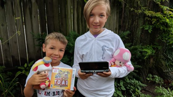 The kids with Toad and Toadette