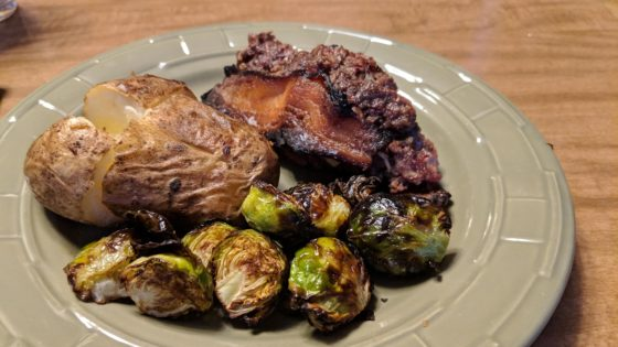 Meatloaf Brussels Sprouts and baked potato