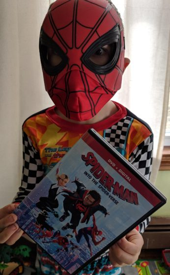Andrew with the Spider-Man DVD