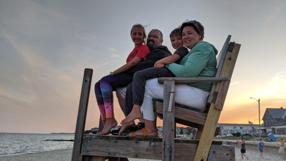 Family photo on the lifeguard chair