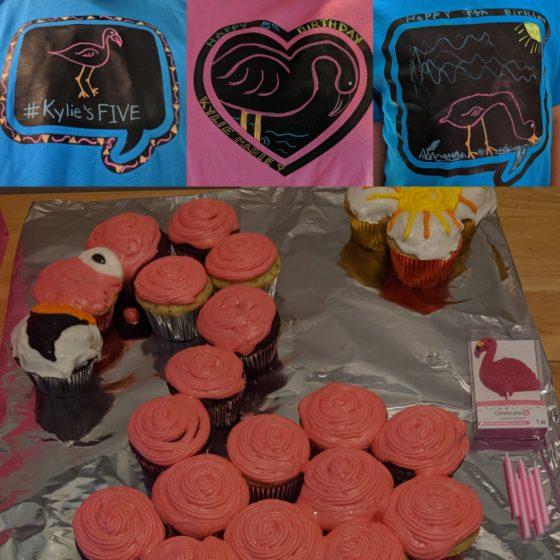 Flamingo cake and tshirts