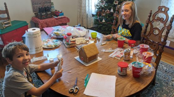 Decorating the Gingerbread House