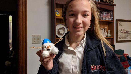 Eva and her snowman