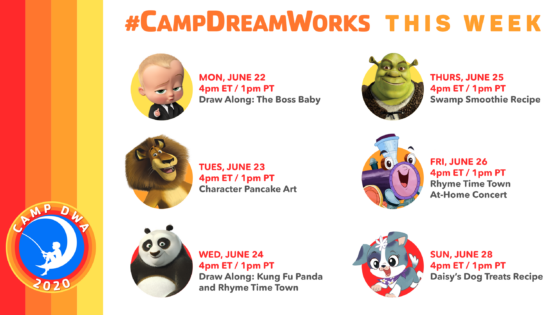 Camp DreamWorks Schedule