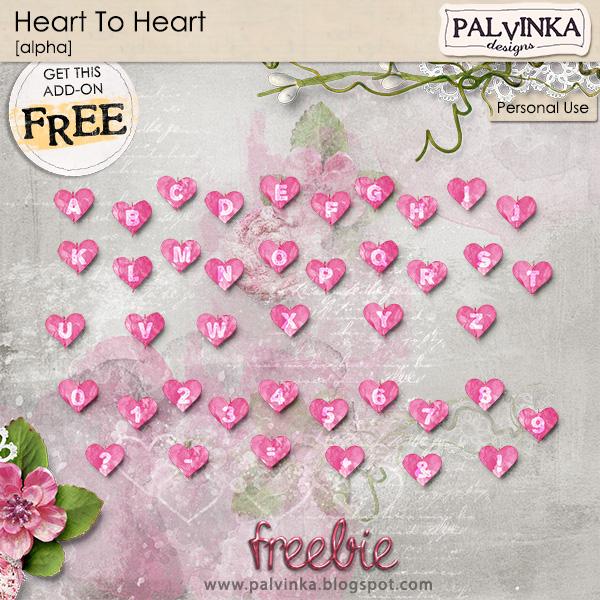 Heart to Heart digital scrapbooking alpha freebie