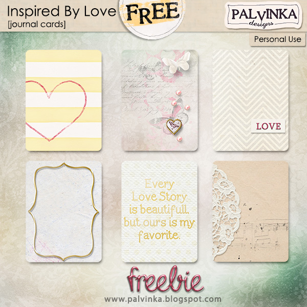 Inspired By Love journal cards freebie from Palvinka