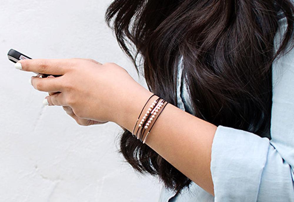 Rose Gold and Black Leather Bracelet