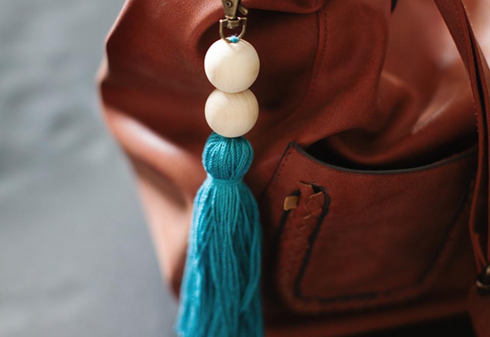 DIY Tassle Keychain on Leather Purse