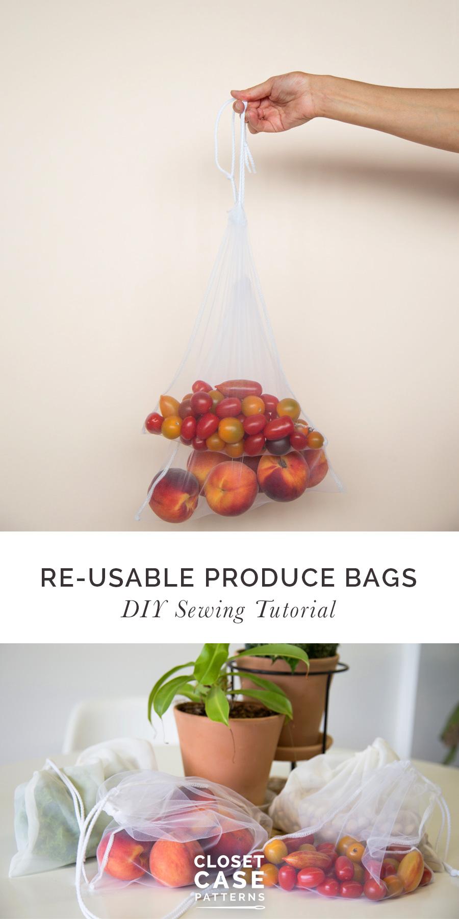 Reusable produce bags sewing tutorial DIY