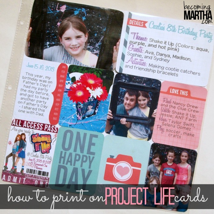 Print your journaling or stamps directly onto your Project Life pocket cards!
