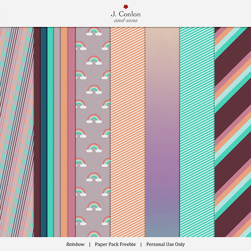 Rainbow paper backgrounds freebie for digital scrapbooking and memory keeping
