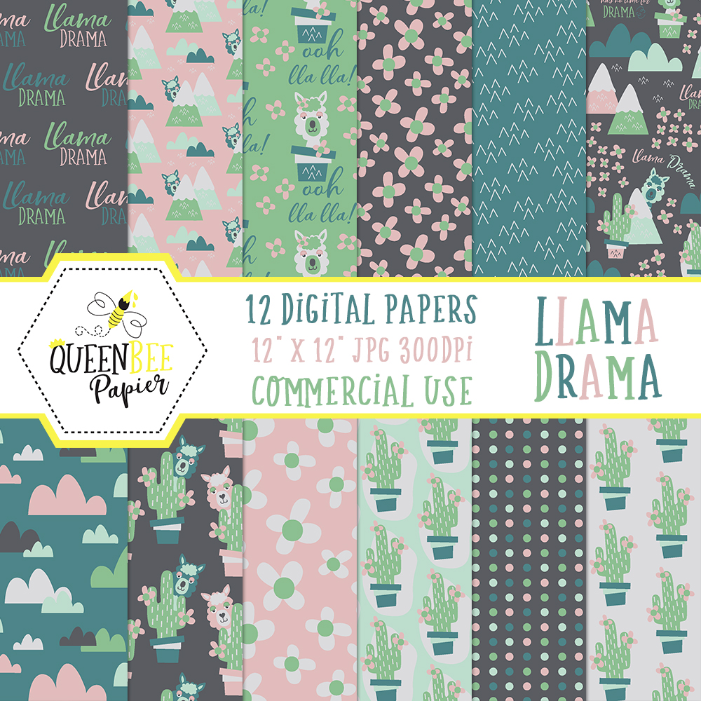 Adorable llama print pattern for free download