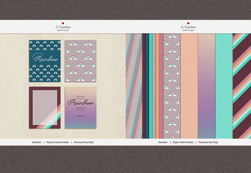 Rainbow Pocket Cards and Paper Pack freebie