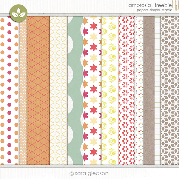 Free patterned backgrounds for digital scrapbooking from Sara Gleason