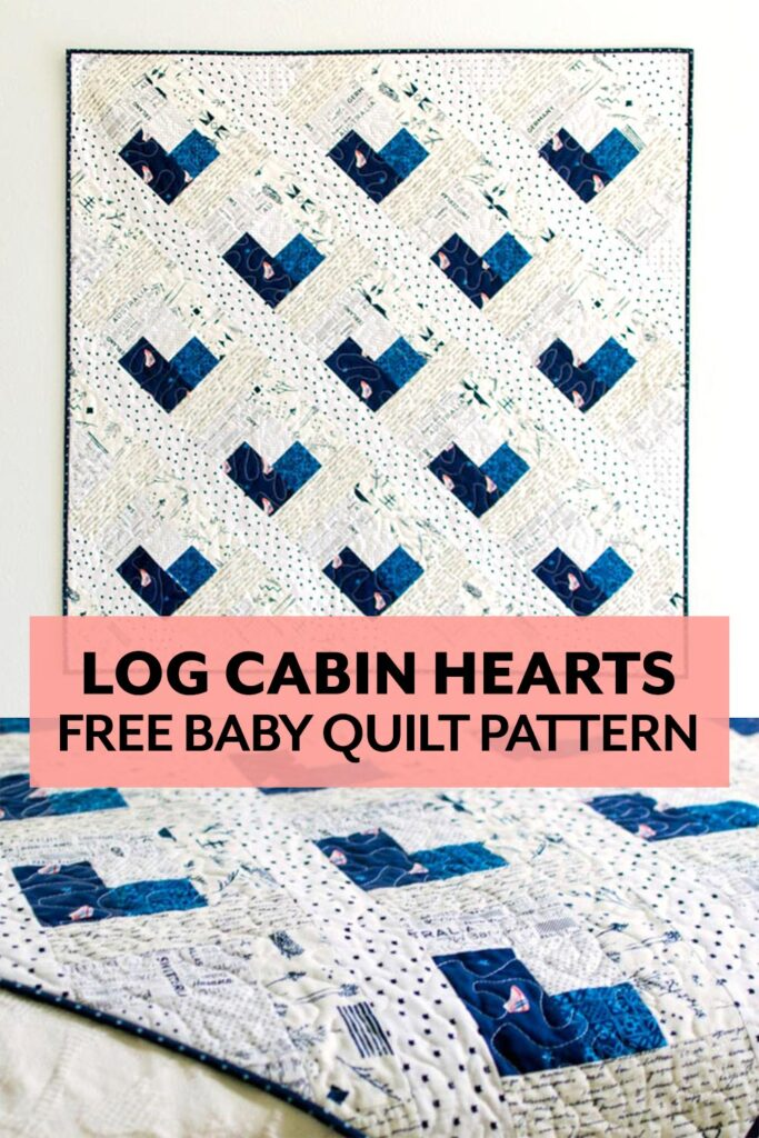 Free pattern and tutorial for this log cabin heart baby quilt
