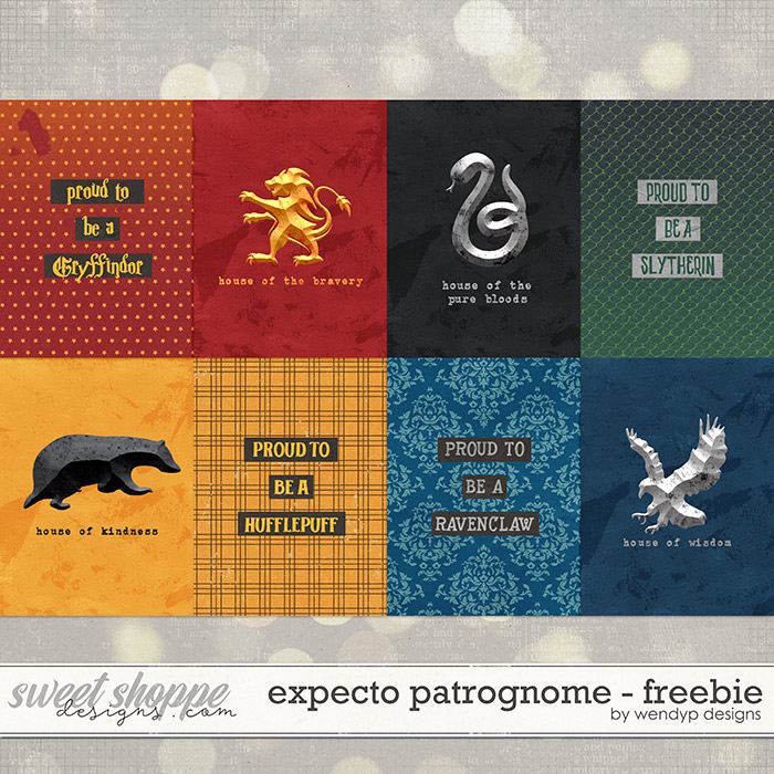 Free download of 8 Harry Potter journal cards featuring all four houses