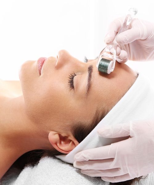 A woman receiving skin treatment in Milford Massachusetts