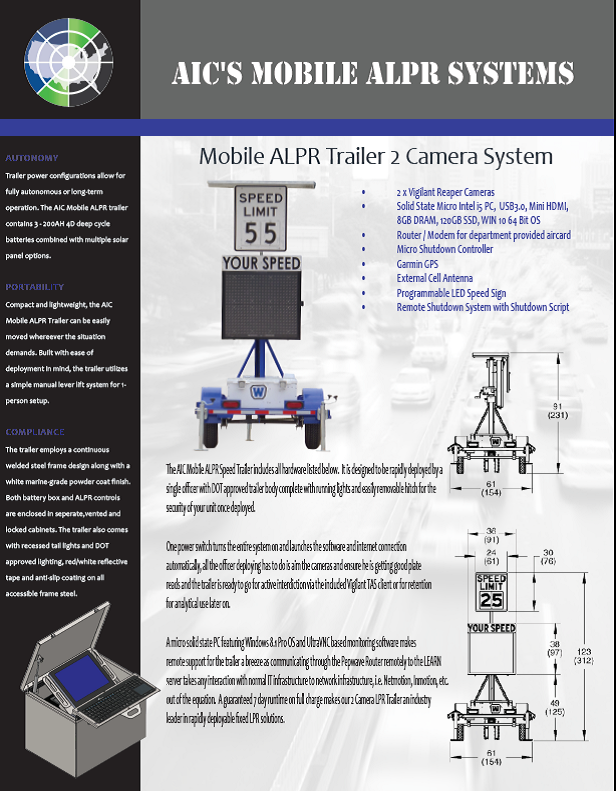 AIC Mobile ALPR Systems Trailer