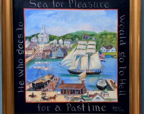 "He who would go to sea for pleasure would go to Hell for a pastime.""  14x14"""
