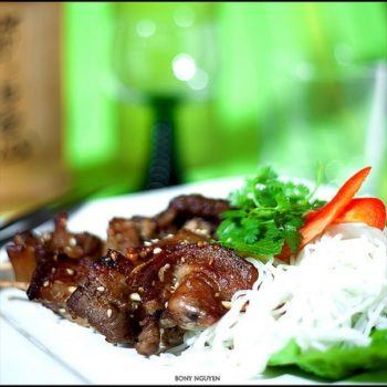 Vietnamese grilled pork with rice noodles