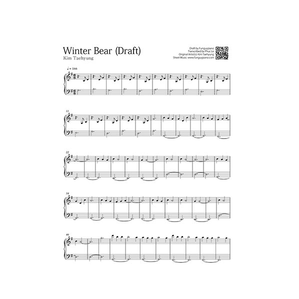 bts v winter bear free piano sheet funguypiano. Black Bedroom Furniture Sets. Home Design Ideas