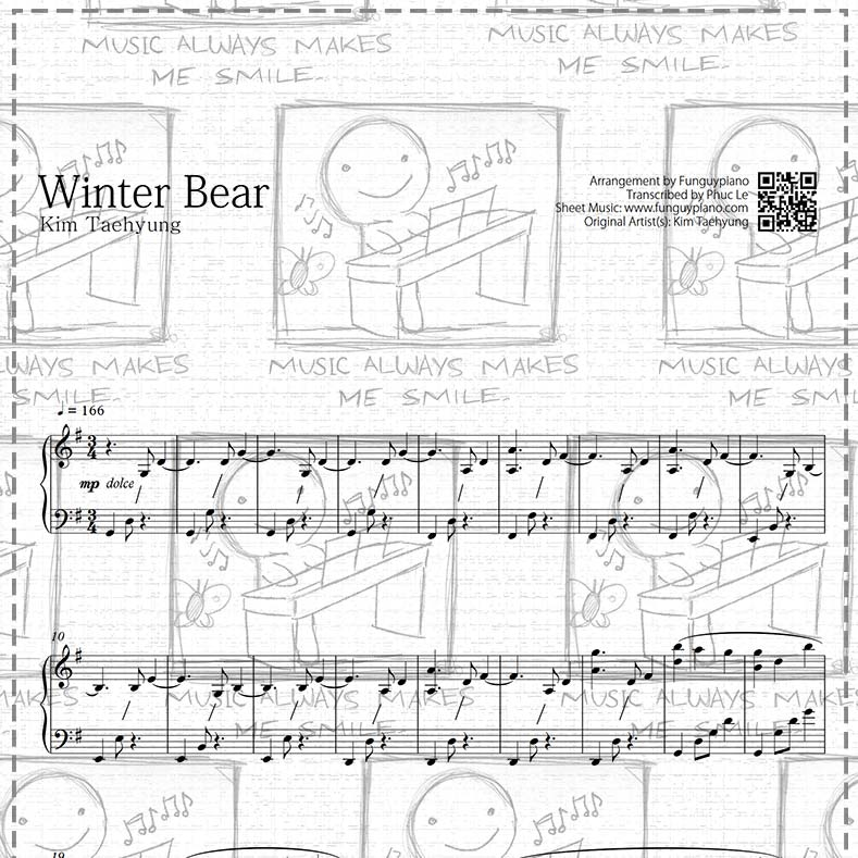 bts v winter bear sheet music midi mp3 funguypiano