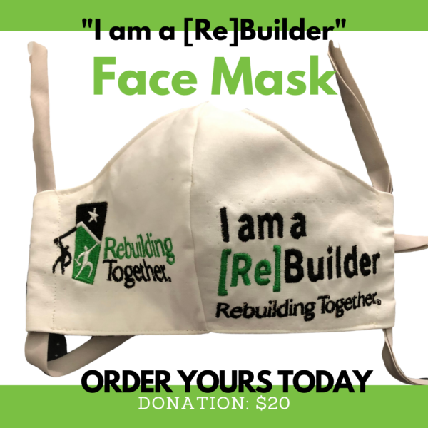 I am a Rebuilder Face Mask with embroidery text.