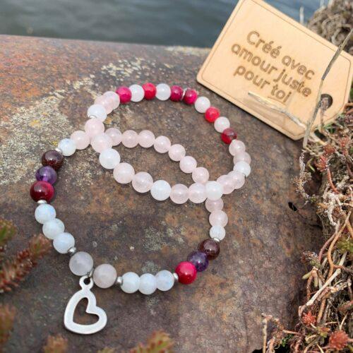bracelet pierres semi-précieuses sur-mesure amour
