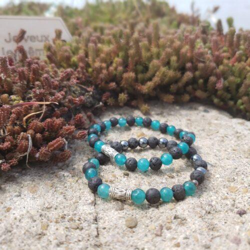 Bracelets mixtes - pierres semi-précieuses pierres de lave, quartz