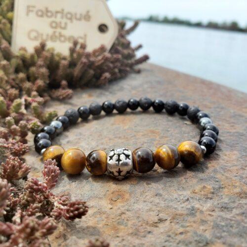 Bracelet pour homme - pierres semi-précieuses oeil de tigre, pierres de lave