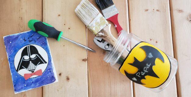 Idée cadeau enfant pour la fête des pères - carte de vœux et boîte de rangement d'outils
