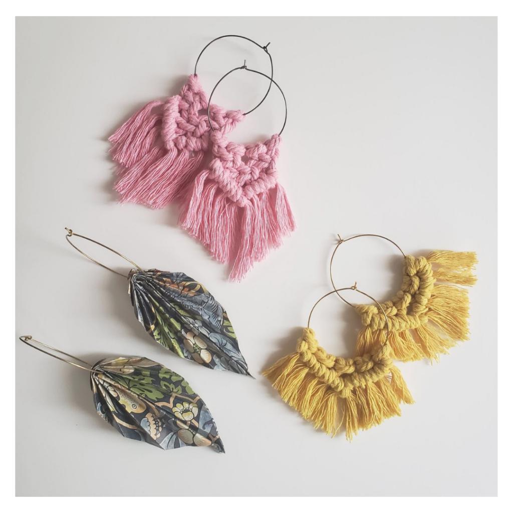 Papangue atelier créatif boucles d'oreilles Forêt et Soleil en origami et macramé
